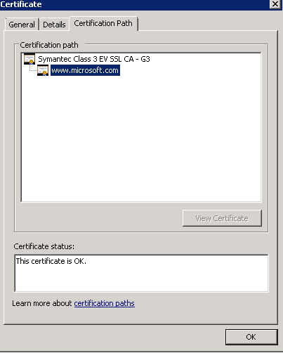 Certificate on the problem server