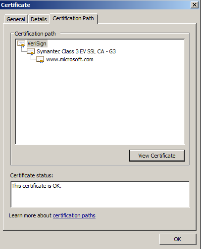 Certificate on a non-problem server
